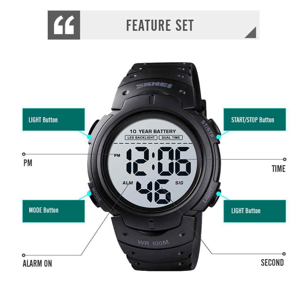 SKMEI 10ปีแบตเตอรี่นาฬิกาผู้ชาย100Mกันน้ำนาฬิกาปลุกกีฬานาฬิกาLEDดิจิตอลนาฬิกาข้อมือนาฬิกาRelogio masculino 1560