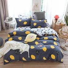 สีเหลืองLemonชุดเครื่องนอนผ้าลินินเด็กผู้ชายบ้านแบนแผ่นปลอกหมอน 3/4pcs Queen king Fullขนาด