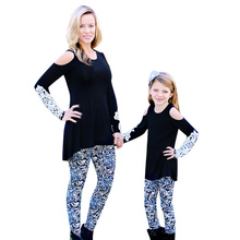 Mommy and Me Shirt Solid Black Long Sleeve T Shirt Lace Cotton O Neck Mom and Daughter T Shirt Mum and Baby Girl Family Clothes cotton notch neck long sleeve t shirt