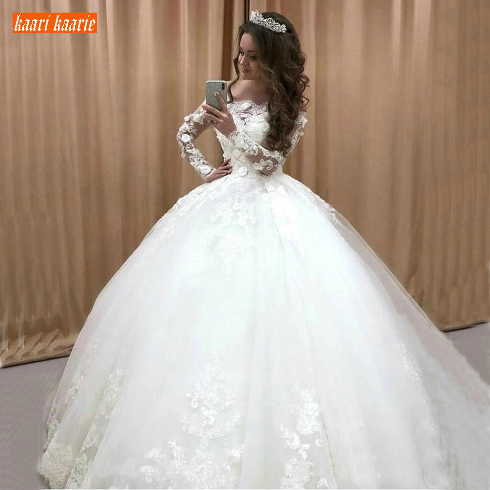 Gorgeous Princess Wedding Gowns Long Sleeve Lace Applique Church