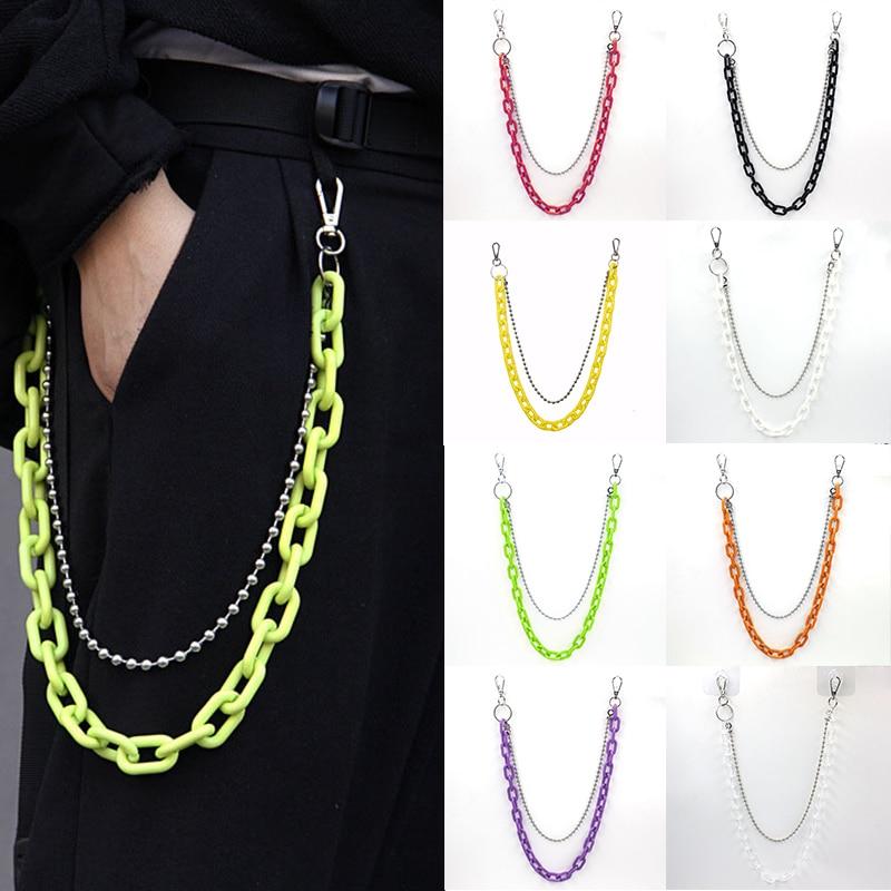 2 Layer Rock Punk Hook Hip-hop Pants Chain Waist Belt Acrylic Candy Color Metal Silver Chain Belts For Women Trouser Accessories