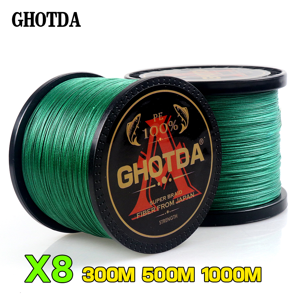 GHOTDA Braided Fishing Line 8 Strands Green 100M 150M 300M 500M 1000M Saltwater Fishing Cord linha multifilamento 8 fio