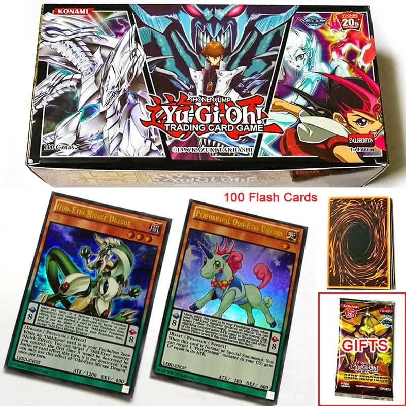TCG English Yu Gi Oh Board Game Duel Flash 100 Cards No Repeat yugioh Battle Table Shining Card OCG Deck Children Christmas Gift(China)