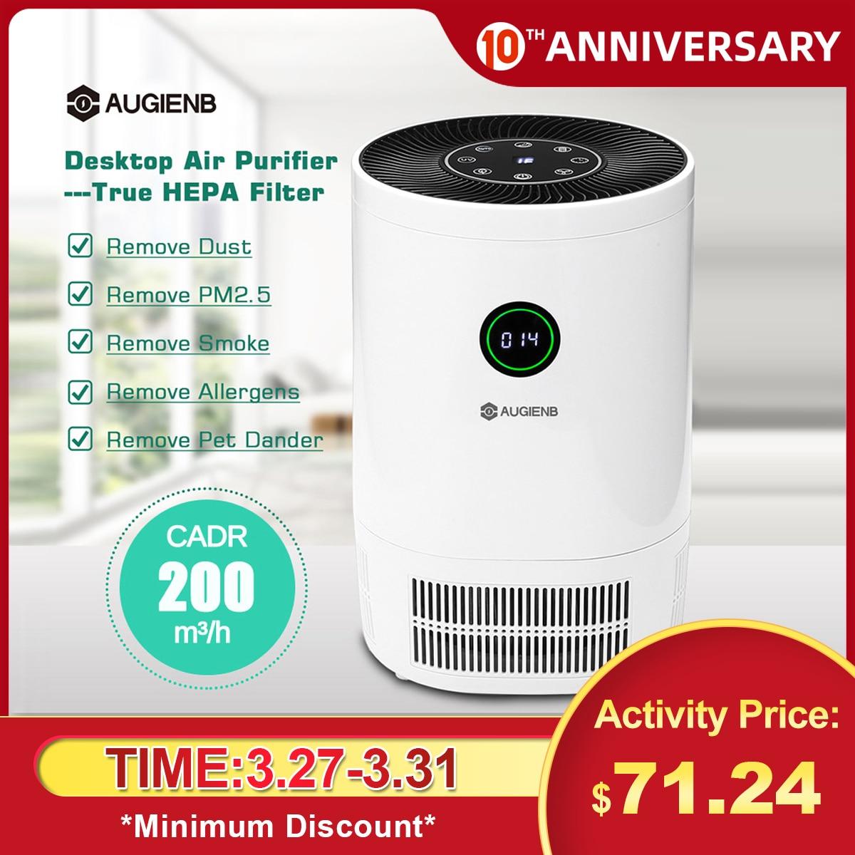 AUGIENB Desk Air Purifier True HEPA Filter Air Cleaner Smoke Dust Odor PM2.5 Eliminator for Allergiesc Pets Dander Smoke Air Purifiers     - title=
