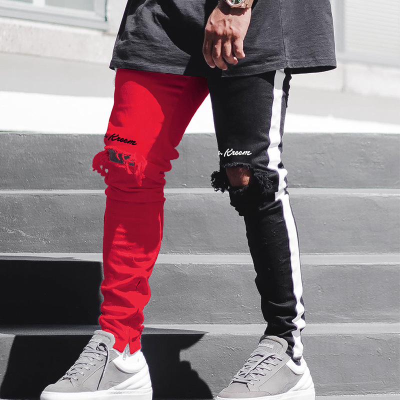 Maoxzon Men's Letter Hole Slim Pants Patchwork New Trend Casual Athleisure Sportswear Jogger Pencil Pants For Youth Boys