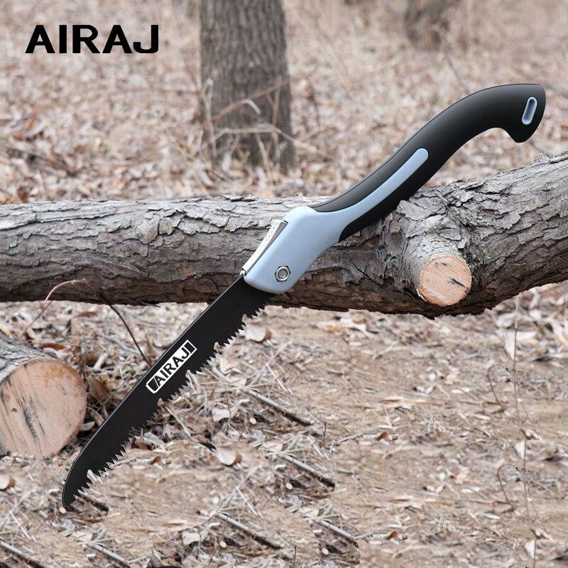AIRAJ multifonctionnel lame de scie pliante scie à main outils de coupe du bois SK5 poignée en acier pliable scie de jardin
