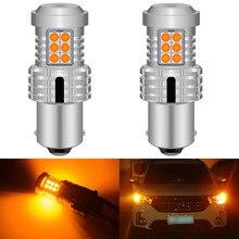 Canbus sem erro 1156 led, 2 peças, sem hiper flash âmbar amarelo laranja 7506 p21w ba15s lâmpadas de led automotivo luzes de sinal para bmw audi