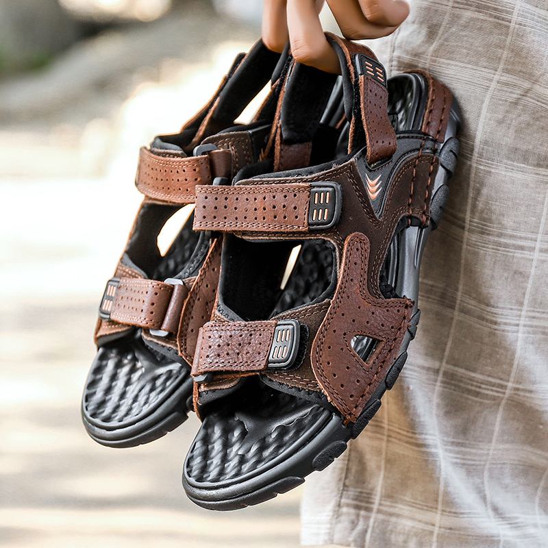 Men/'s Leather Shoes Slipper Roman Sandals Summer Beach Sports Breathable Outdoor