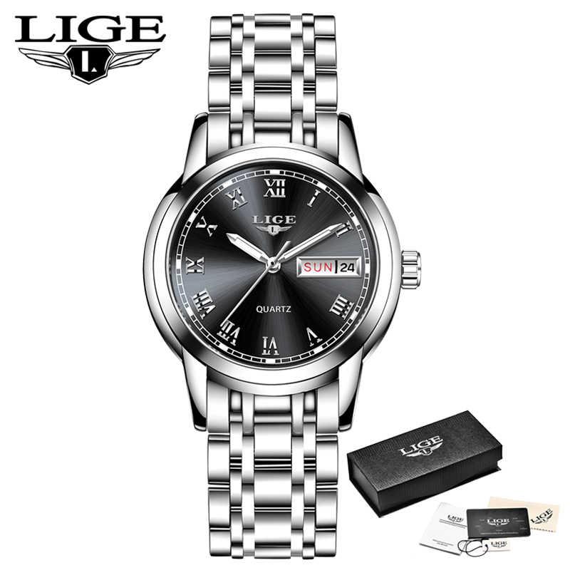 LIGE แฟชั่นผู้หญิงนาฬิกาข้อมือสุภาพสตรีแบรนด์หรูสแตนเลสปฏิทินกีฬานาฬิกาควอตซ์ผู้หญิงกันน้ำนาฬิกาข้อมือ
