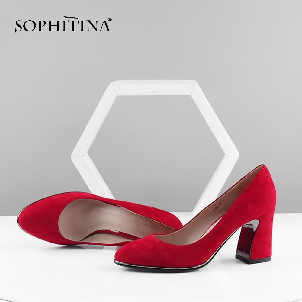 SOPHITINA Fashion Metal Design Heel Pumps High Quality Genuine Leather Pointed Toe Shallow Shoes Elegant Handmade Pumps PC606