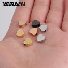 цена на 7.4*8mm Heart Shape Rose/Gold/Black/Silver/Stainless Steel Connectors For Bracelet Necklace DIY Jewelry Making sieraden maken