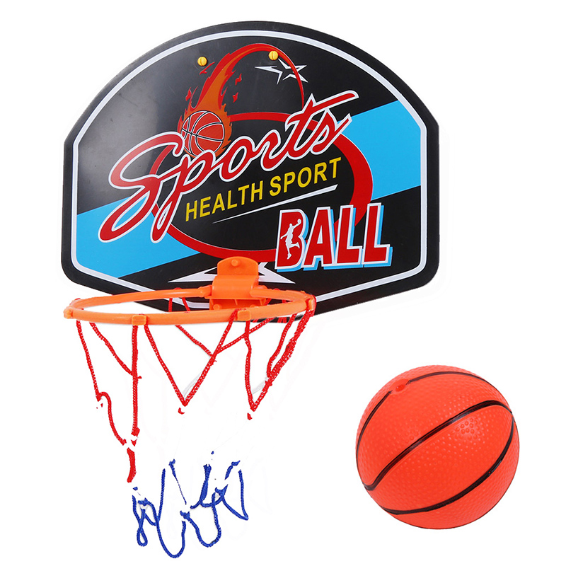 Outdoor-Indoor Children Basketball Toys Plastic Basketball Toy Mini Inflatable Ball Pump Backboard Rim Children Kids Wall Game