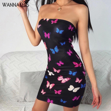 WannaThis Butterfly Print Strapless Sexy Mini Dresses Sleeveless Off Shoulder Sk