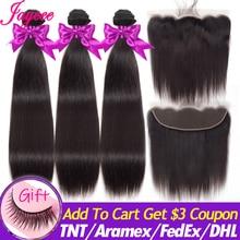 Jaycee włosów brazylijski pasma prostych włosów z Frontal 13*4 czołowa koronki z wiązek Remy człowieka wiązki włosów z Frontal