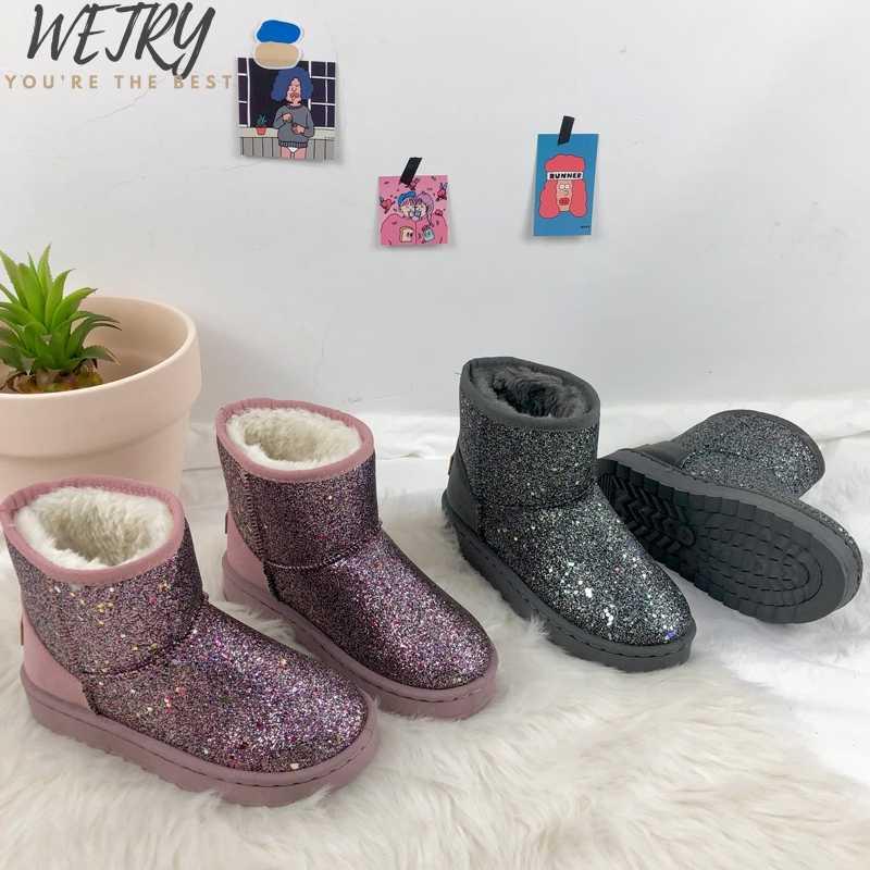 Zima 2019 buty kobiety śnieg buty Bling kryształ krowa zamszu prawdziwej skóry platformy kostki buty zagęścić futro pluszowe buty kobieta