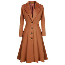 New Autumn Winter Women Casual Coats Turn-down Collar Warm Trench Long Sleeve Slim Outwear Lapel Button waist manteau femme(China)