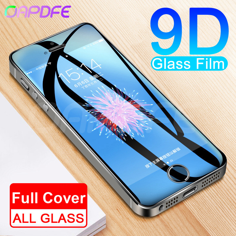 9D Protective Glass on the For iPhone 5S 5 5C SE Tempered Screen Protector Safety Glass For iPhone 5S SE 4S Protection Film Case(China)