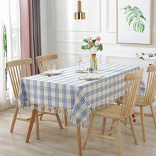 Simanfei Striped/Plaid Table Cloth Cotton Linen Dining Coffee Tea Cover Home Decoration Hand-woven Tassel Tablecloth