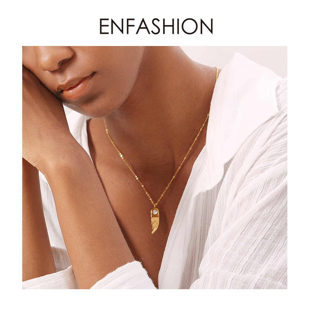 ENFASHION Bamboo Shoot Choker Necklace Women Stainless Steel Gold Color Cute Plant Pendant Necklace Femme Jewelry Gifts PF193012