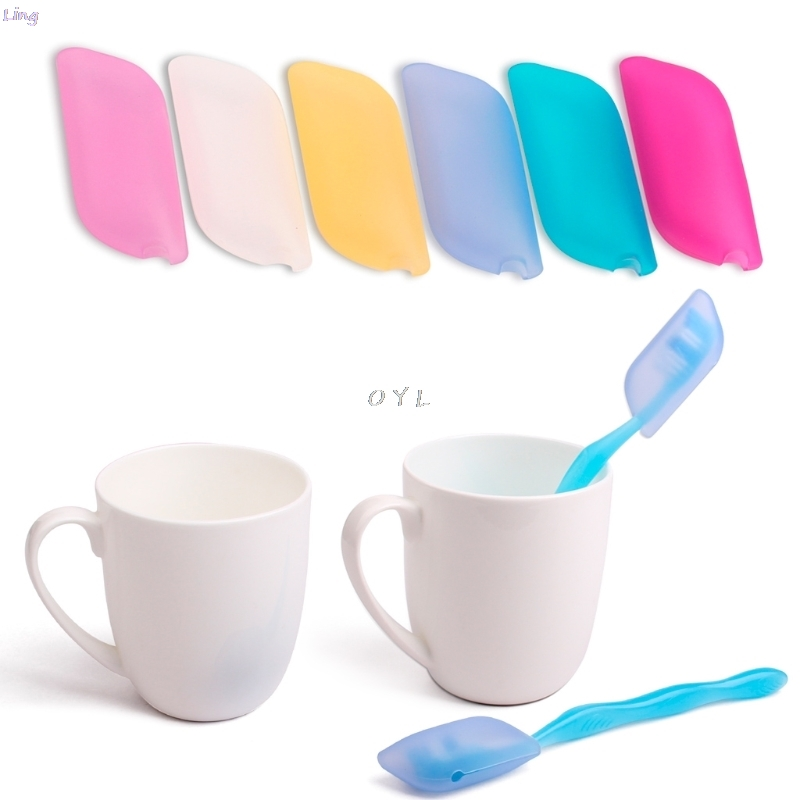 Colorful Safe Silicone Toothbrush Head Cover Holder Travelling Hiking Camping Brush Cap Case To Storage Toothbrush Head