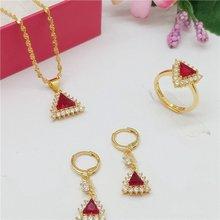 Ювелирные изделия в форме треугольника набор желтое золото заполнены