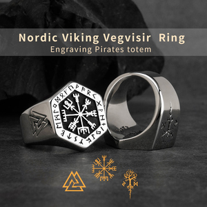 Image 2 - Vegvisir stainless steel  rings  for man  Nordic mythology Viking rune  Index Ring fashion jewelry