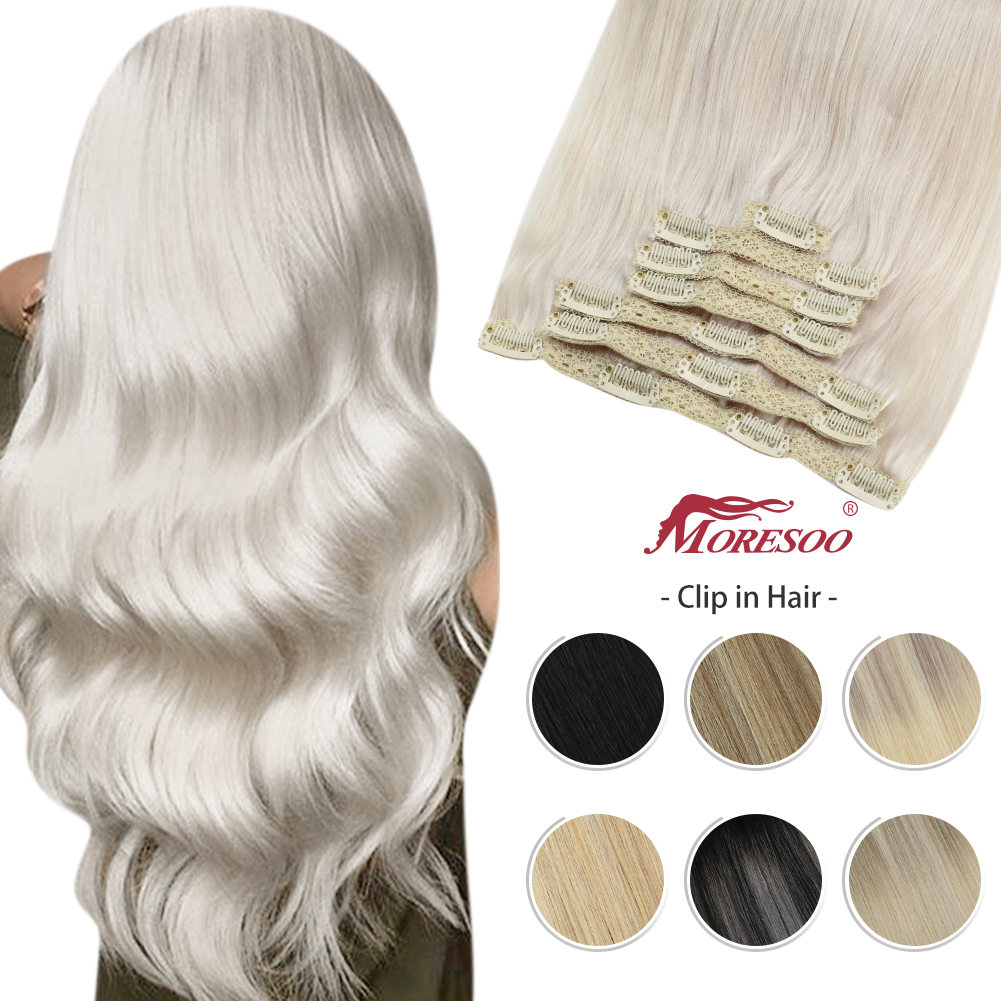 Moresoo Clip in Human Hair Extensions Natural Machine Remy Silky Straight Double Weft Balayage Ombre Hair Clips Extensions