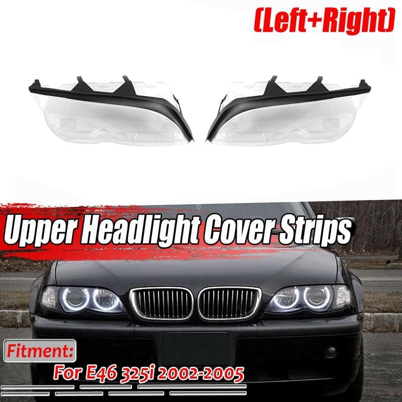 1Set Car Headlight Lense Clear Lens Cover with Sealing Sealing Strip for BMW E46 320I 325I 325Xi 330I 330Xi 4 Door 2002-2005 Hea