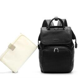 Bolsa de pañales de cuero PU grande de moda mochila para mujer, bolsas organizadoras de cochecito de viaje para bebés, bolsas de pañales para mamá y papá