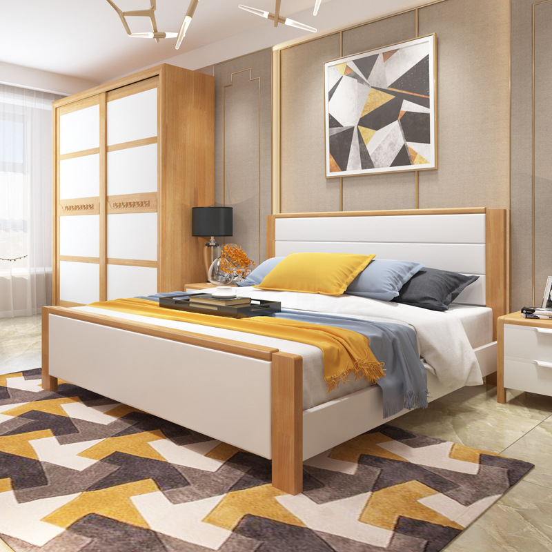 Wood Bed Hotel Bedroom Furniture Modern Minimalist Small Apartment 1.5m 1.8 M Double Bed