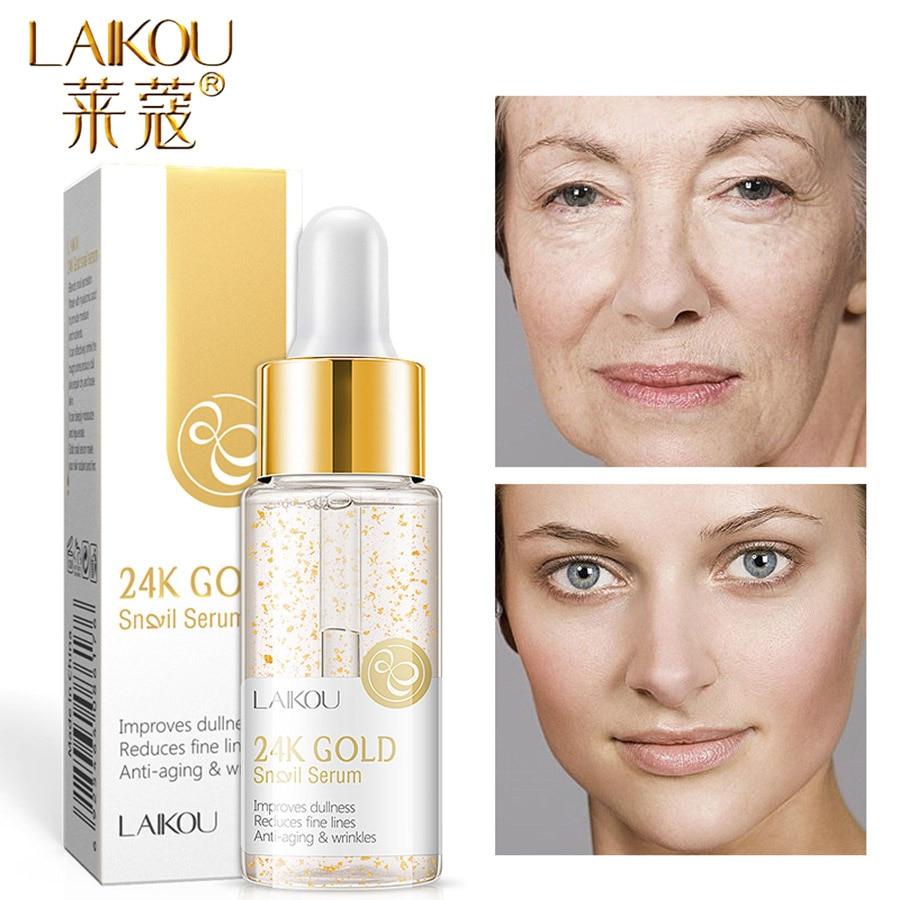 LAIKOU 15ml 24k Gold Serum Vitamin C Facial Serum Essence Hyaluronic Acid Cream Anti Wrinkle Whitening Face Care Essence Skin