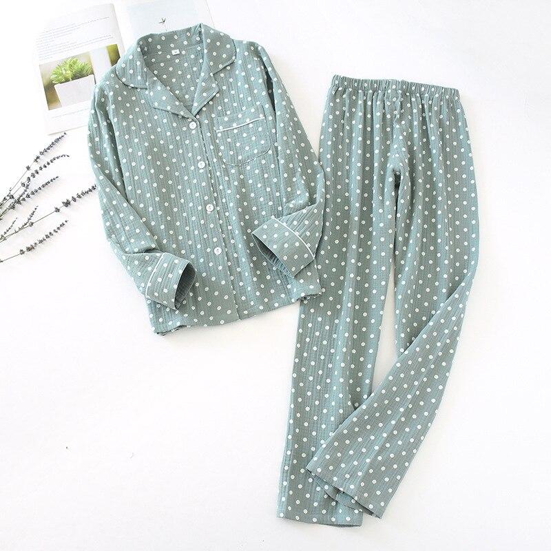 2020 New Ladies Pajamas Summer Polka Dot Print Pajamas Set Cotton Crepe Sleepwear Femme Top+Full Length Pants Women Homewear Pajama Sets    - AliExpress