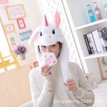 Unicorn Hat Moving Ears Cute Cartoon Toy Hat Airbag Kawaii Funny Toy Cap Cute Stitch Rabbit panda Plush Toys for kids Gigts