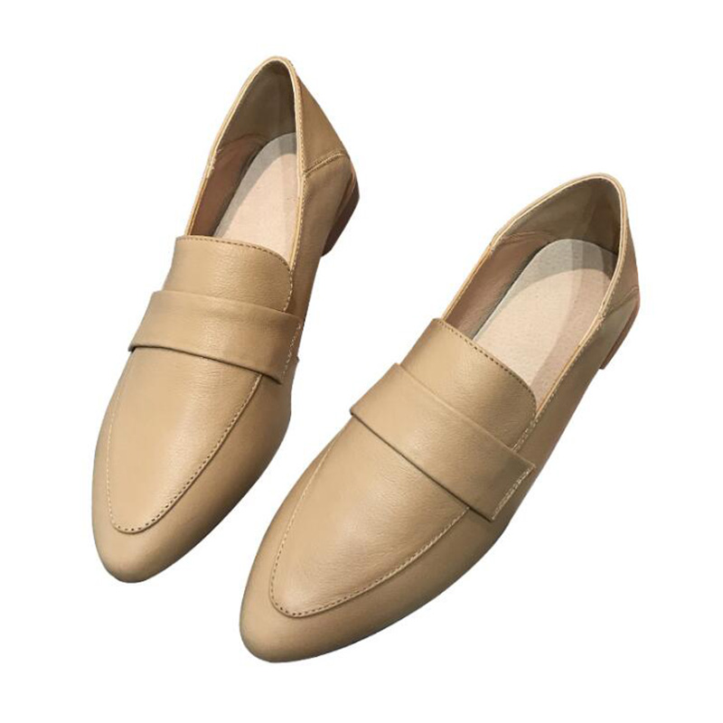 2020 Spring Single Shoes Leather Flat Retro Loafers Casual Pointed Small Leather Shoes Horseshoe Shoes Grandma Shoes Large Size