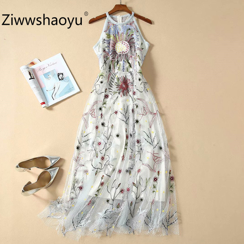 Ziwwshaoyu High Quality New Spring Summer Tarot Pattern Embroidery Mesh Sexy Party Sleeveless Maxi Dresses Women's