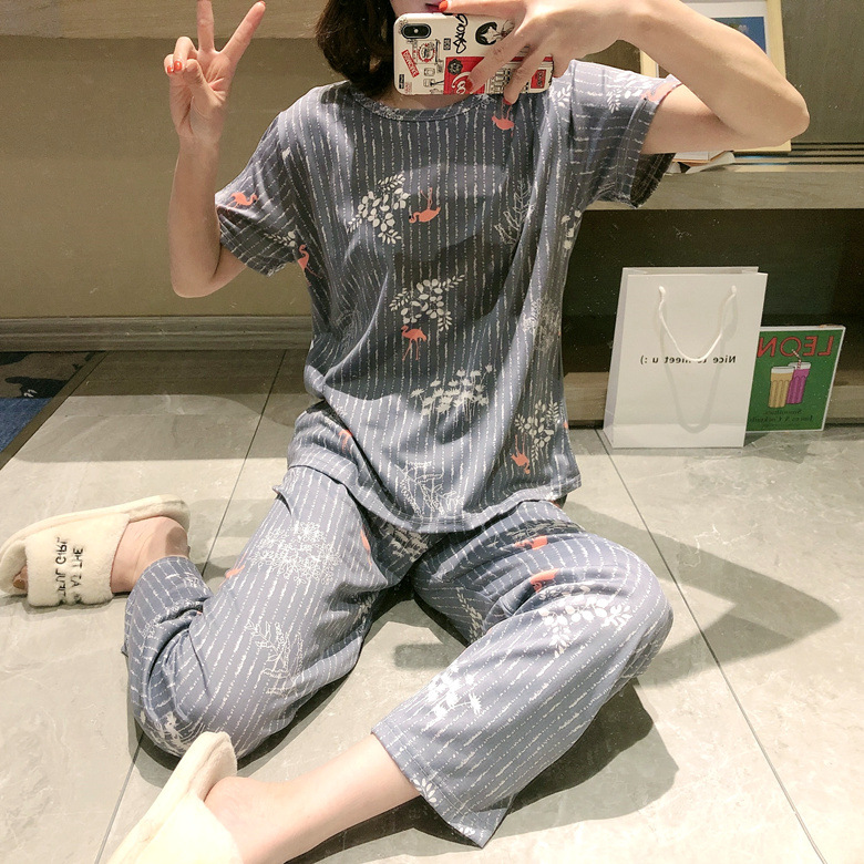Summer Short-sleeved Trousers Pajamas Women's Gray Kotsuru M -Xxl 2020 New Style Home-feeding Filming