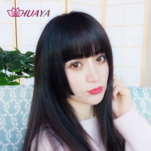 HUAYA Blunt Straight Bangs Long Lolita Wig Princess Cut Wig Cute Girl's Anime Cosplay Wig  High Temperature Fiber Synthetic Wigs