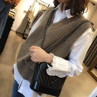Sleeveless Sweaters Vest Women's 2020 New Autumn and Winter Knitted Waistcoat Loose V neck Vest All match Fashion Vest Women