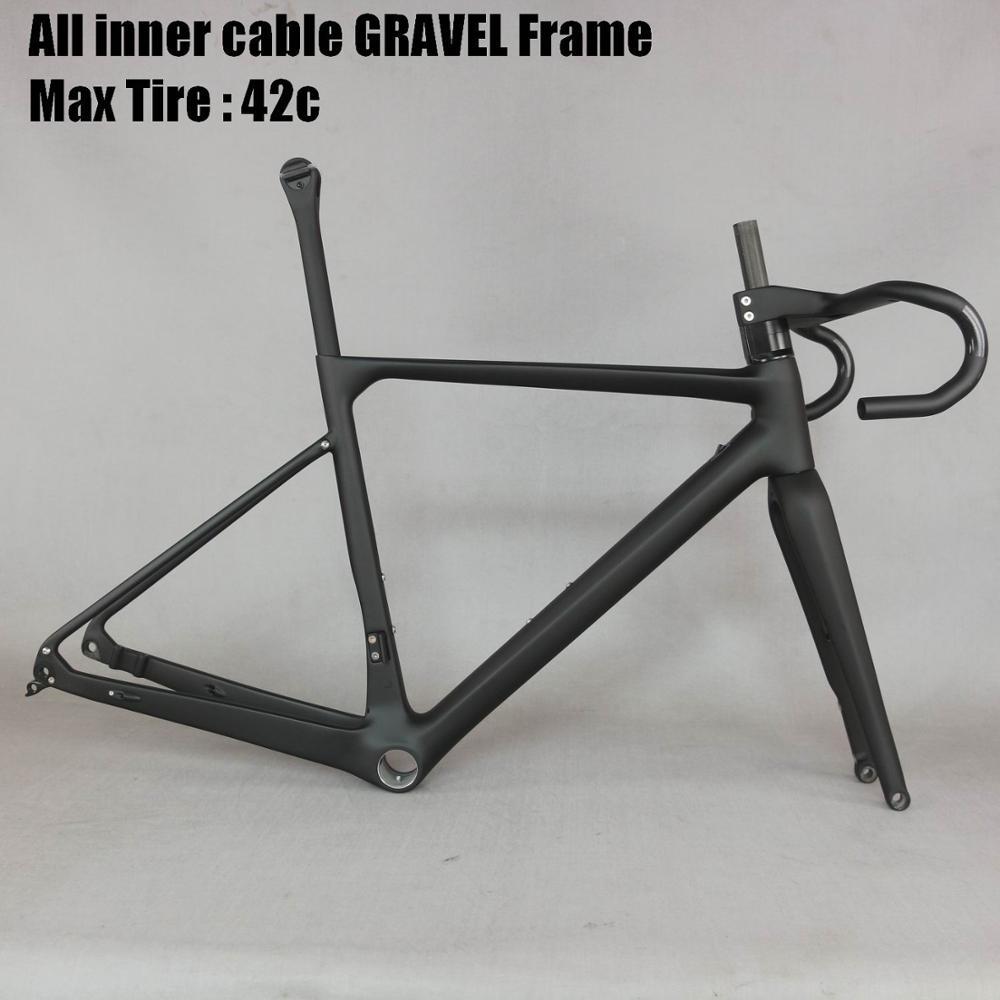 2020 All Inner Cable Disc Gravel Frame Super Light T1000 Gravel Bike Frame GR039 , Bicycle GRAVEL Frame Factory Deirect Sale