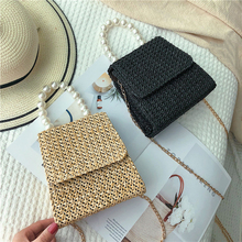 Luxury Chain Bag for Women Bags Brand Designers 2020 Summer Fashion Pearl Straw Weave Shoulder Crossbody Ladies Handbag