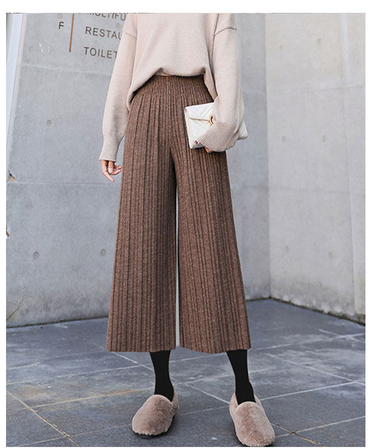 Winter New High-waist Pleated Woolen   Pants   Women 2020 Solid Wide Leg   Pants   Women   Capris     Pants   Autumn Bottoms Women Trousers