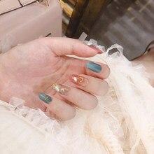 Ins bonito cinza azul e rosa gradual hit cor pura com casca e folha de ouro 3d unhas falsas noiva japonesa dicas de unhas completas