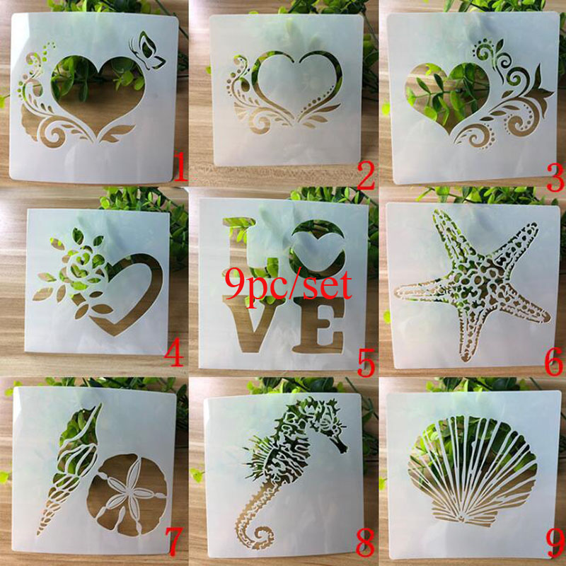 9pc Stencil Heart Openwork Painting Template Embossing Craft Bullet Journal Accessories Sjablonen For Scrapbooking Reusable