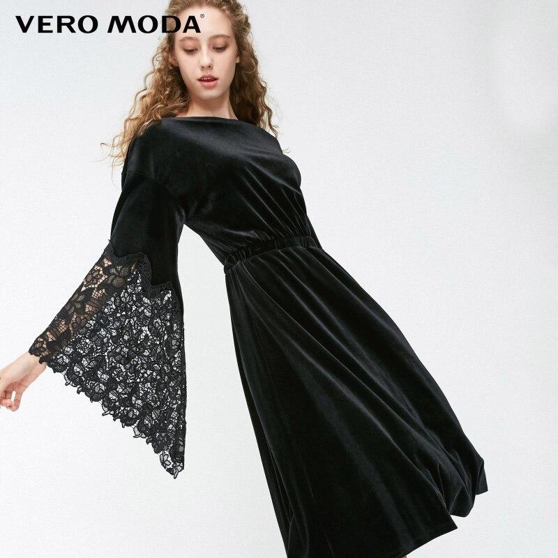 Vero moda outono rendas crochê splice babados mangas vestido de veludo | 318461502
