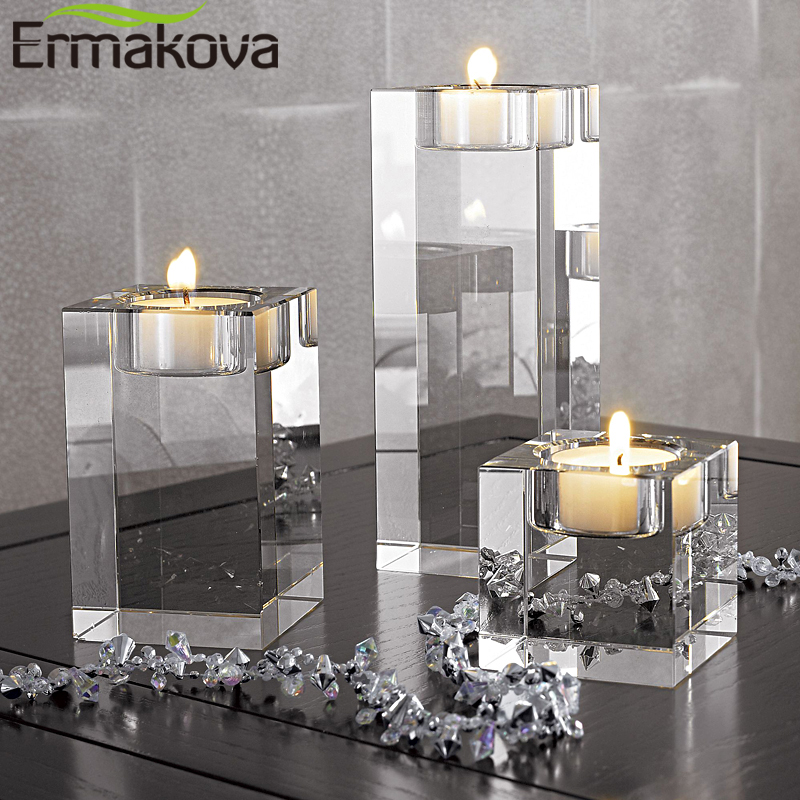 ERMAKOVA Candle Holders Solid Crystal Clear Square Glass Tealight Candlestick for Wedding Home Decoration Centerpiece image