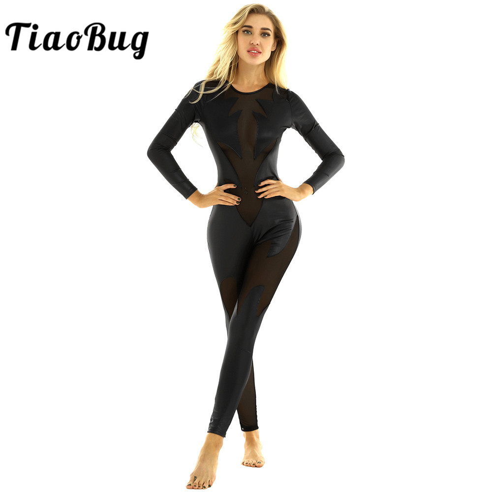 TiaoBug Women Black Metallic Mesh Splice Gymnastics Leotard Sexy Bodysuit Catsuit Nightclub Rave Performance Pole Dance Costume