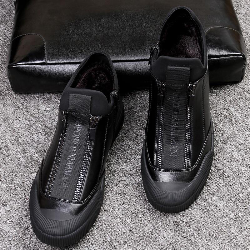 2020 New Trend Mens Leather Sneaker Designer Luxury Brand Men Casual Sneakers Warm Fur Zip Flats Big Boy Shoe Outdoor Man Shoes