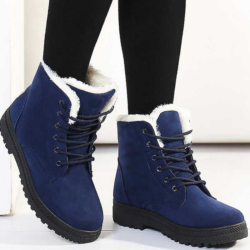 Women Snow Boots Winter Warm Plush Insole Square Heel Ankle Boots Lace-Up Casual Flock Women Shoes Plus Size 44 27