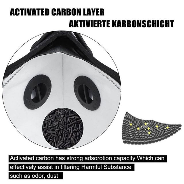 PM2.5 Cycling Mask  Sport Face Mask  Activated Carbon Filter Anti-Pollution Running Training Cycling Mask 4