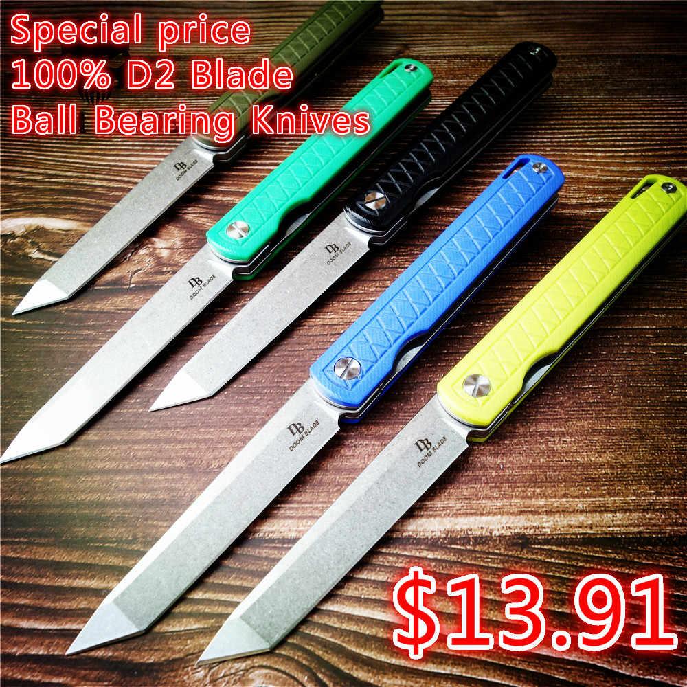 215mm 100% D2 Blade Ball Bearing Knives Pocket Folding Knife G10 Camping Hunting Survival Tactical Knives EDC Tools Defense
